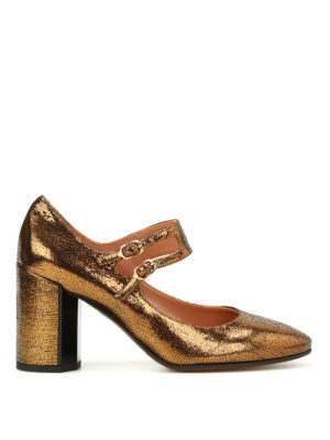 L' Autre Chose: court shoes - Lame leather Mary Jane pumps