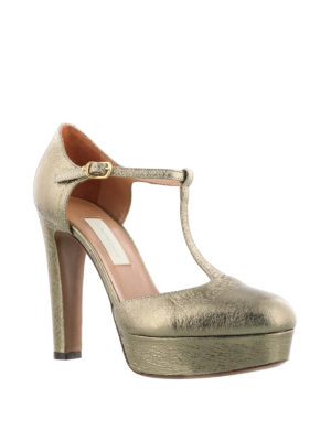 L' Autre Chose: court shoes online - Crackled leather d'orsay pumps
