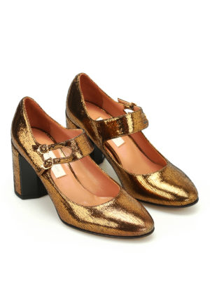 L' Autre Chose: court shoes online - Lame leather Mary Jane pumps