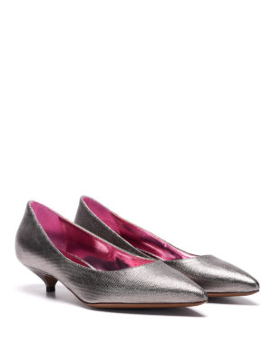 L' Autre Chose: court shoes online - Metallic canvas low pump