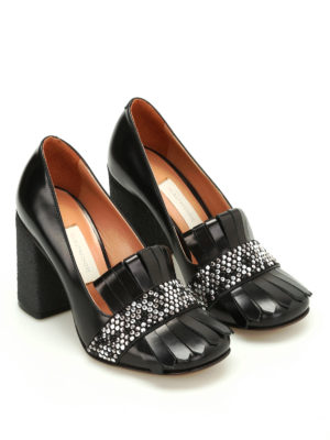 L' Autre Chose: court shoes online - Para heeled leather pumps