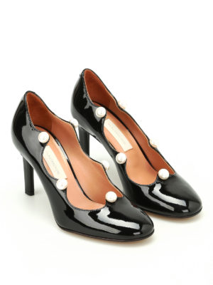 L' Autre Chose: court shoes online - Pearl details patent leather pumps