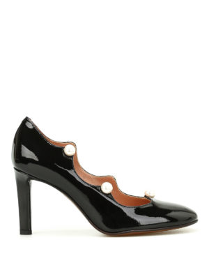 L' Autre Chose: court shoes - Pearl details patent leather pumps