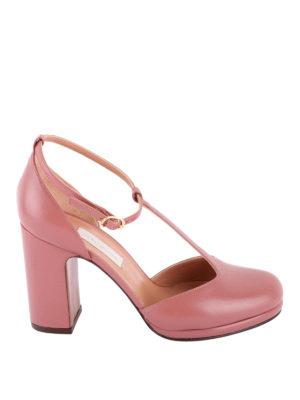L' AUTRE CHOSE: scarpe décolleté - Décolleté in pelle rosa con cinturino a T