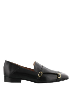 L' Autre Chose: Loafers & Slippers - Double buckle leather loafers
