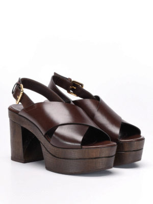 L' Autre Chose: mules shoes online - Wood heel mules sandals