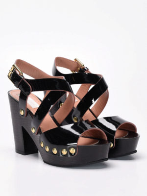 L' Autre Chose: mules shoes online - Wool heel patent leather sandals