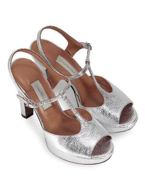 L' AUTRE CHOSE: sandali online - Sandali in pelle craquelé argento