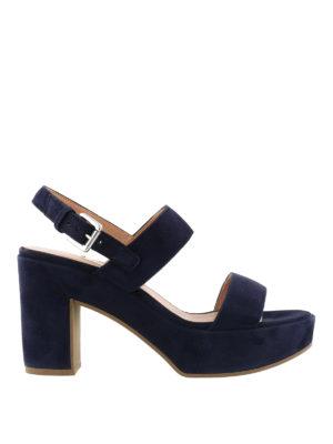 L' Autre Chose: sandals - Covered thick heel navy sandals