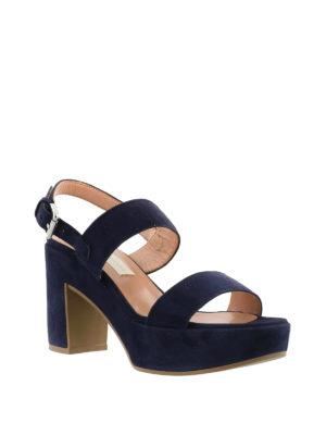 L' Autre Chose: sandals online - Covered thick heel navy sandals