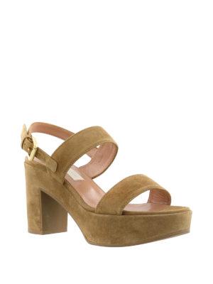 L' Autre Chose: sandals online - Covered thick heel suede sandals