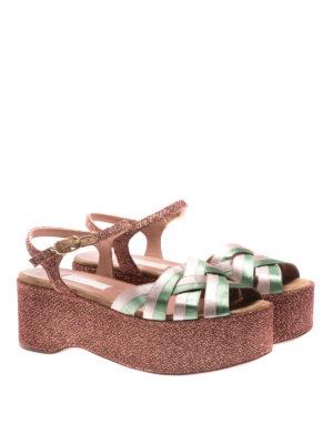 L' Autre Chose: sandals online - Ribbon and lurex platform sandals
