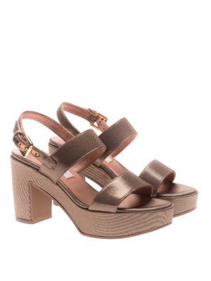 L' Autre Chose: sandals online - Shining ribbed platform sandals