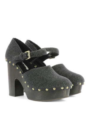 L' Autre Chose: sandals online - Studded wool shoes