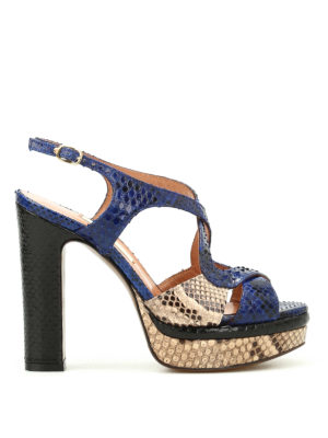 L' Autre Chose: sandals - Python leather colourful sandals