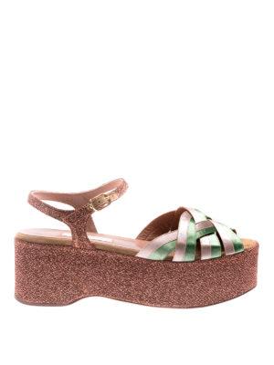 L' Autre Chose: sandals - Ribbon and lurex platform sandals