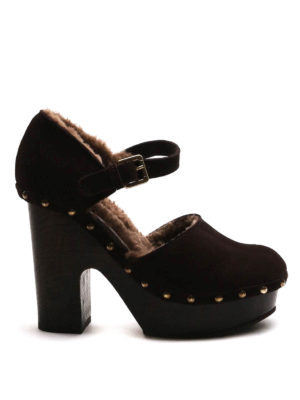 L' Autre Chose: sandals - Studded leather and wool sandals