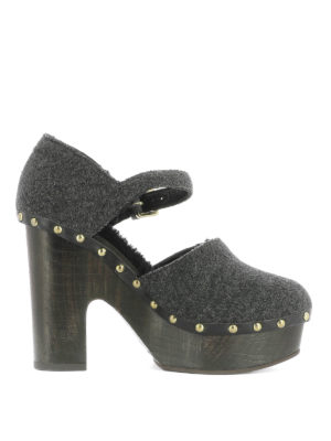 L' Autre Chose: sandals - Studded wool shoes