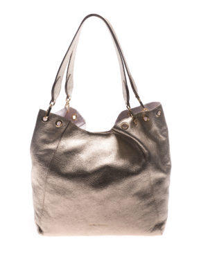 L' Autre Chose: totes bags - Gold tone laminated leather tote