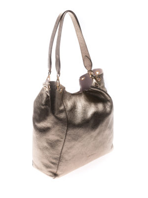 L' Autre Chose: totes bags online - Gold tone laminated leather tote