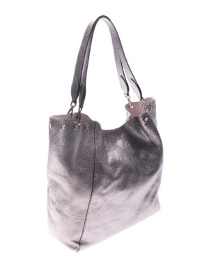 L' Autre Chose: totes bags online - Silver tone laminated leather tote