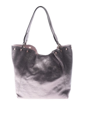 L' Autre Chose: totes bags - Silver tone laminated leather tote