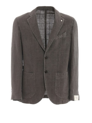 L.B.M 1911: blazers - Rough regular linen blend overcheck blazer