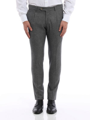 L.B.M 1911: Tailored & Formal trousers online - Melange wool trousers