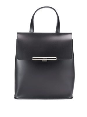 Lancaster: backpacks - Leather backpack with flap