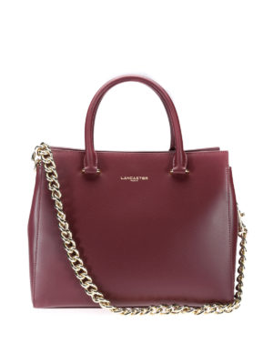 Lancaster: totes bags - Leather tote with chain