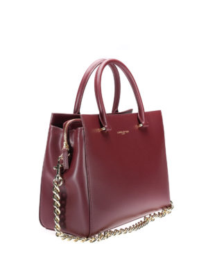 Lancaster: totes bags online - Leather tote with chain