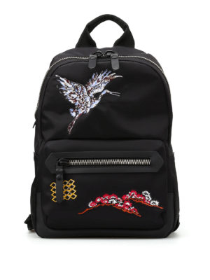 Lanvin: backpacks - Bird embroidery nylon backpack