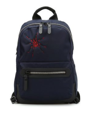 Lanvin: backpacks - Spider embroidery nylon backpack