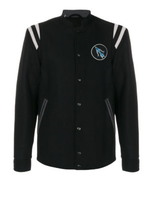 Lanvin: casual jackets - Lobster embroidery baseball jacket