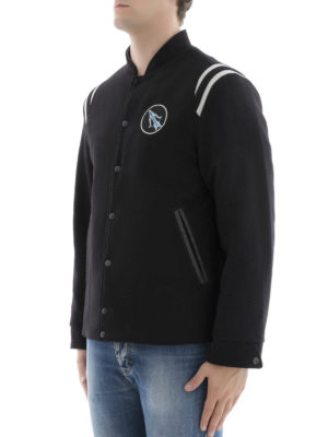 Lanvin: casual jackets online - Lobster embroidery baseball jacket