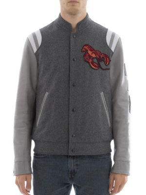 Lanvin: casual jackets online - Wool blend and leather jacket