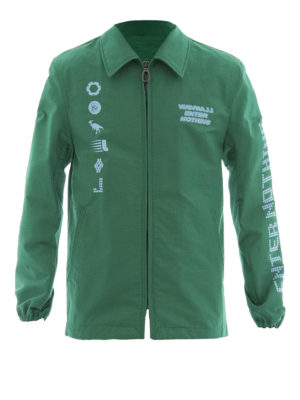 Lanvin: casual jackets - Printed green canvas jacket