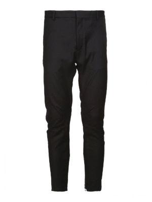 LANVIN: pantaloni casual - Pantaloni biker neri in cotone