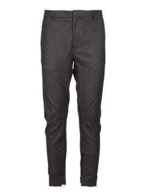 LANVIN: pantaloni casual - Pantaloni biker grigi in cotone