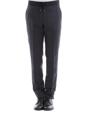 Lanvin: casual trousers online - Check wool trousers with drawstring