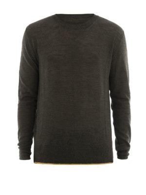 Lanvin: crew necks - Contrasting hem wool crewneck