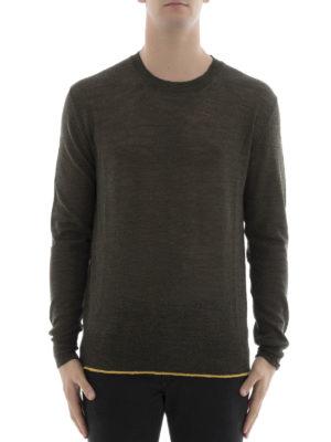 Lanvin: crew necks online - Contrasting hem wool crewneck