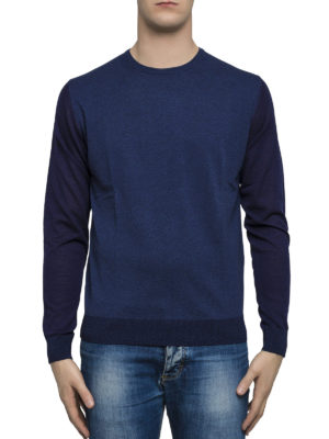 Lanvin: crew necks online - Two-tone wool and cotton jumper