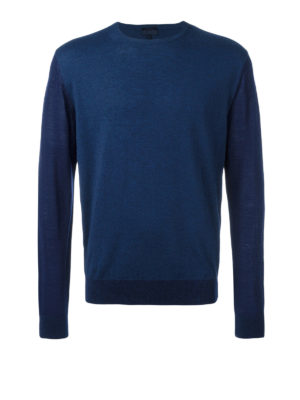 Lanvin: crew necks - Two-tone wool and cotton jumper