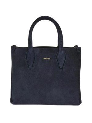 LANVIN: borse a tracolla - Borsa Journée Nano in camoscio blu notte