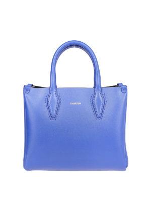 LANVIN: borse a tracolla - Tracollina Journée Nano in pelle blu