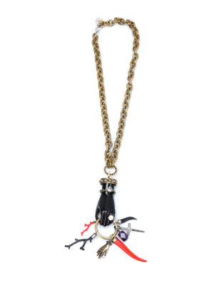 Lanvin: Necklaces & Chokers - Amulets detailed brass necklace