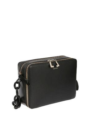 LANVIN: borse a tracolla online - Borsetta in pelle nera con due scomparti