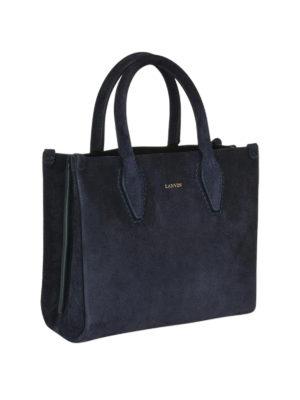 LANVIN: borse a tracolla online - Borsa Journée Nano in camoscio blu notte