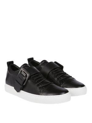 LANVIN: sneakers online - Sneaker in nappa nera con fibbia Lanvin